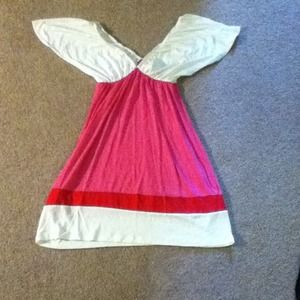 White, pink and red dress
