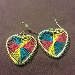 Multicolor Heart Thread Earrings