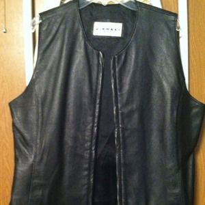 Leather vest black ladies. Genuine leather