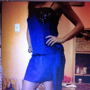 Electric blue short spaghetti straps dress