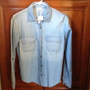 AG Adriano Goldschmied Tops - Reserved-AG jeans light wash chambray blouse