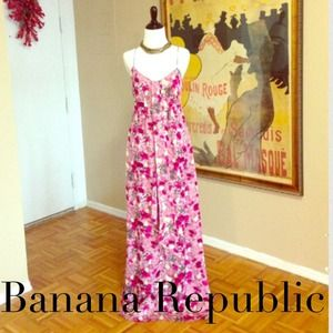 Silk floral Banana Republic Monogram maxi dress