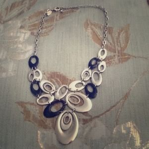 Black and white oval necklace