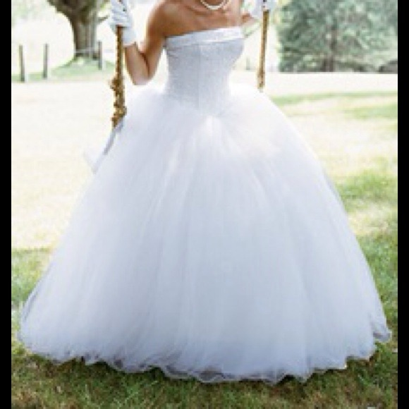 David\'s Bridal Dresses | Strapless Tulle Ball Gown W Beaded Satin ...