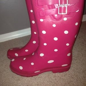 ❌BUNDLED❌Pink polka dot Rain Boots