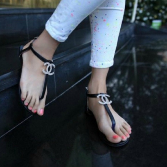 650ab1cb3 CC Shoes - Black Thong sandals with CC rhinestones
