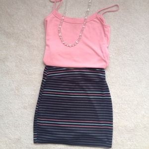 Striped skirt and peach Cami