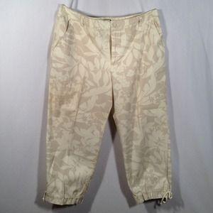 Cream & Khaki Floral Capri Pants