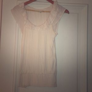 Cream ruffled blouse