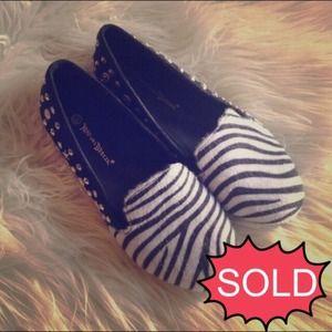 Black Zebra Studded Slip On Loafer Slippers Flats