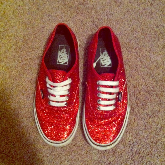 Vans Shoes | Womens Red Glitter Vans