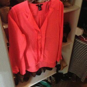 Neon orange H&M blouse