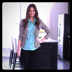 Black & white striped blazer