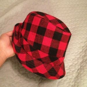 c108efc0b4e justice Accessories - A cute red and black checkered fedora hat