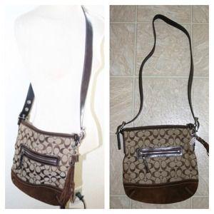 *COACH* Brown signature tassel Crossbody purse