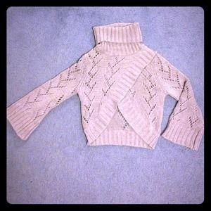 Grey Crocheted Sweater Crop Top