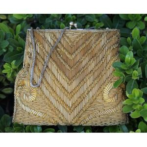 Handbags - Art Deco Gold Beaded Clutch