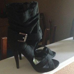 Black open-toe booties