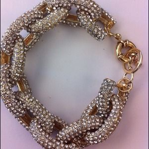 New Gold Pave Crystal Link Bracelet