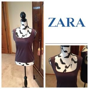 Zara Brown Round Neck Basic Sleeveless in L