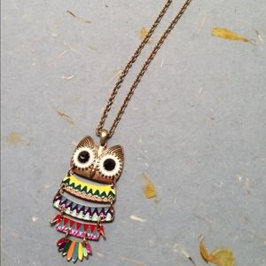 Multicolored owl necklace