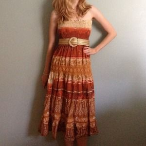 Smocked orange, yellow, and red strapless maxi