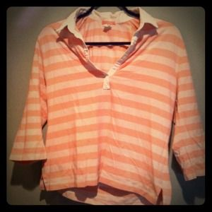 J. Crew Pink & White striped collared top