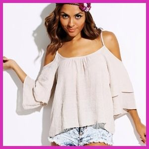 Tops - Bundle- Beige & Pink Tiered Flutter Sleeve Top
