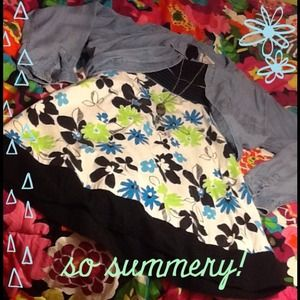 Dresses & Skirts - ⛄️❄️FLORAL sun dress black blue green white CUTE