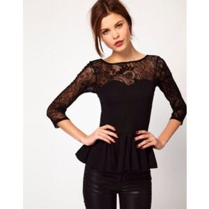Host PickAsos black lace peplum top  xs hold