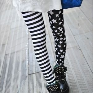 Korean Brand Pants - Stripe and star leggings