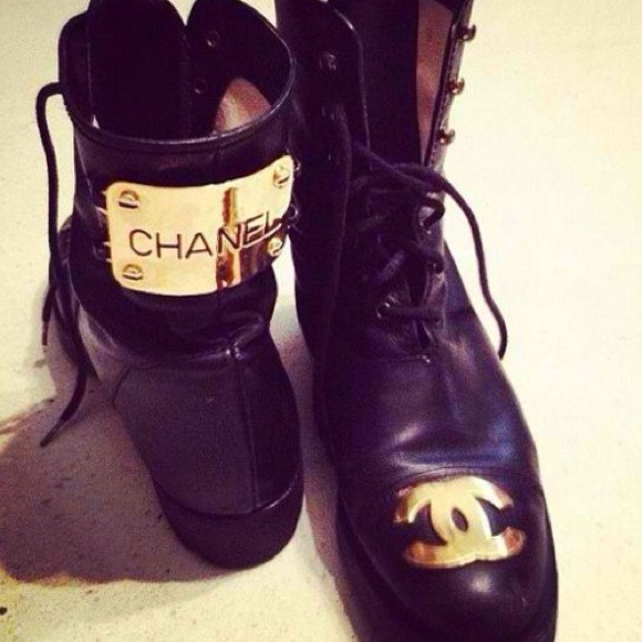 Chanel Quilted Leather Combat Boots Chanel Combat Boots 8 1/2
