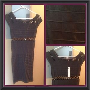 Dresses & Skirts - NWT dark grey off shoulder sexy bandage dress S/M