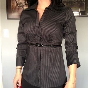 REDUCED! Pin striped fitted blouse w by- new!