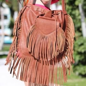Handbags - Fringe brown bag