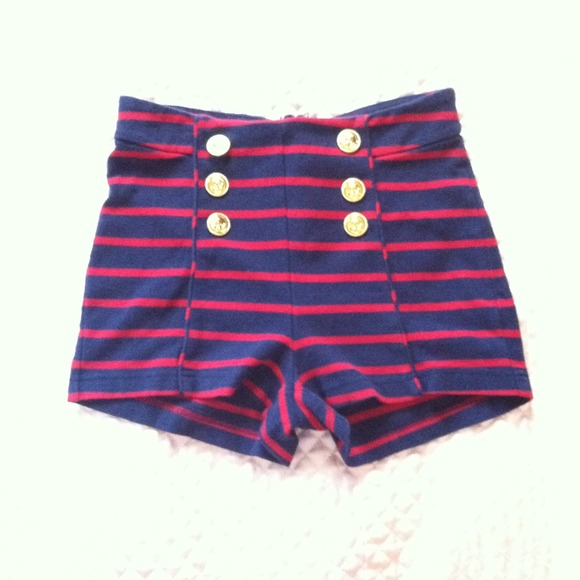 56% off Pants - Navy blue & red striped High waisted Sailor shorts ...