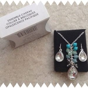 Pacific Blue Coral Necklace & Earring Set