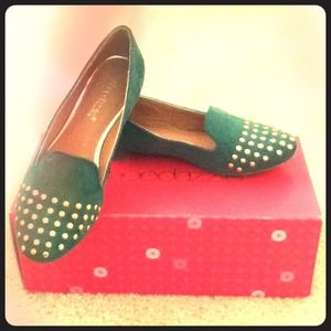 Shoedazzle Shoes - NEW Shoedazzle Green Suede Loafers W/ Gold Studs