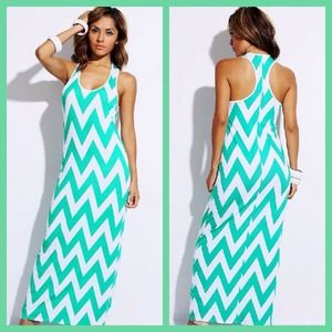Dresses & Skirts - Mint/White Chevron Print Maxi Dress
