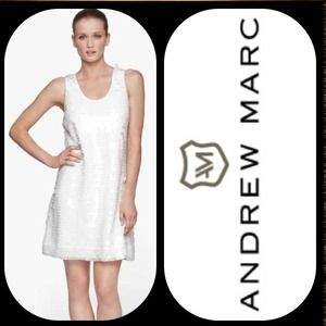 NWT! Andrew Marc White Sequin Shift Dress