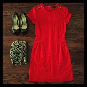 Mango Dresses & Skirts - MANGO Christmas red dress with decorative buttons