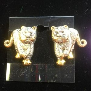 Tiger pierced Earrings.  Silver /  gold tone