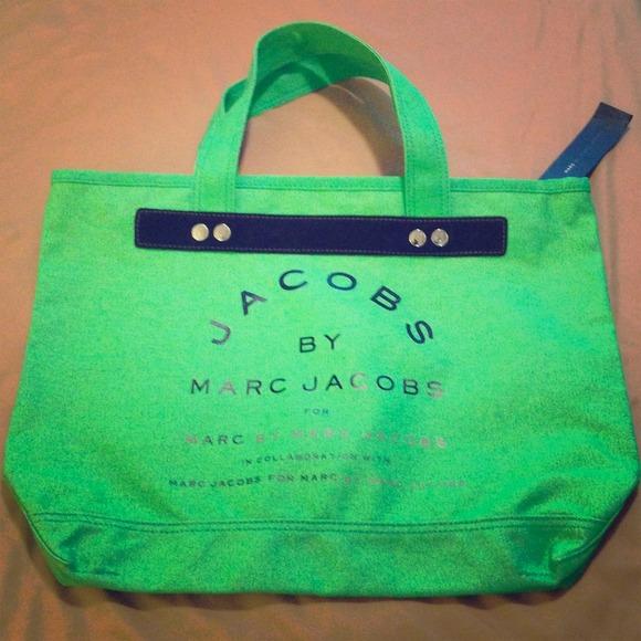 1157a35e8952   SALE   Marc Jacobs Neon Green canvas tote bag