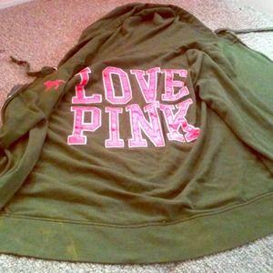 VS Pink Hunter Green w/ hot pink lettering hoodie.