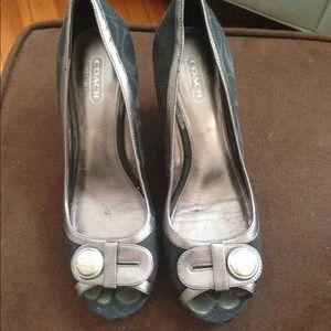 2817f28c512 Coach Black Signature Tate Peep Toe Wedge Shoes