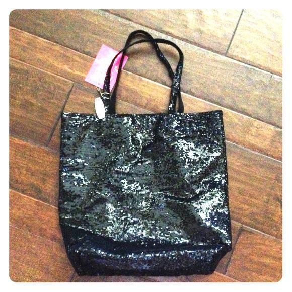 REDUCED Victoria s Secret Black Sequin Tote 7098d478de