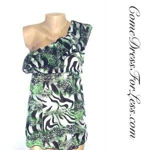 Maya Green & Black Print Top