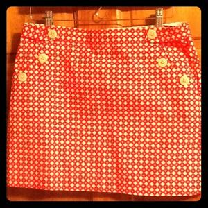 REDUCED PRICE! J. Crew red patterned skirt