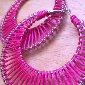 Hot Pink Thread Loop Earrings