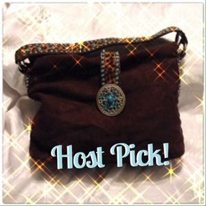 Host Pick Brown & Turquoise Suede Bag